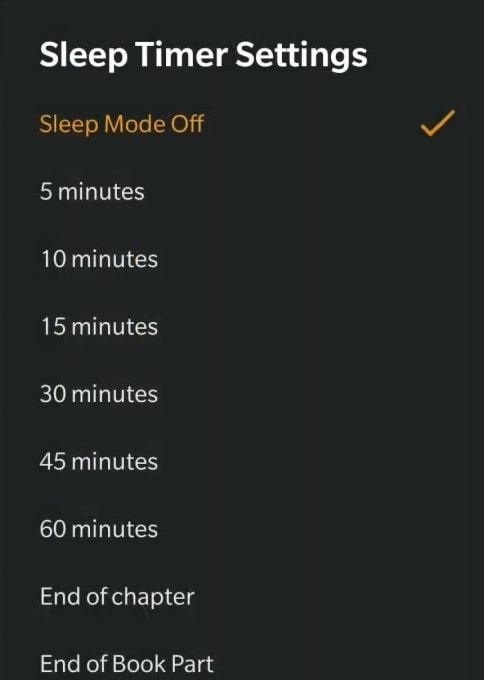 Audible Sleep Timer Settings