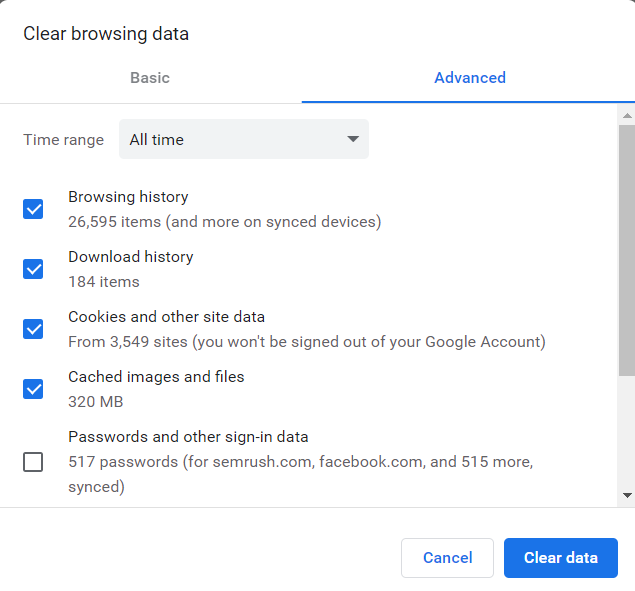 Select the boxes to delete the history data of chrome